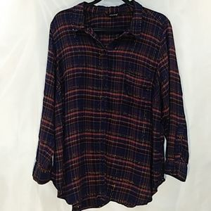 Lucky Brand Plaid Flannel Button Up Blouse 3X